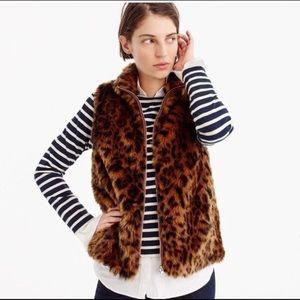 NWT J. Crew | Faux-fur leopard vest